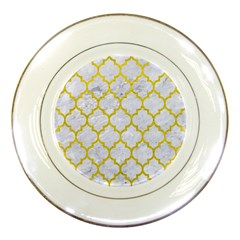 Tile1 White Marble & Yellow Leather (r) Porcelain Plates by trendistuff