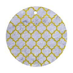 Tile1 White Marble & Yellow Leather (r) Round Ornament (two Sides) by trendistuff
