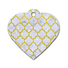 Tile1 White Marble & Yellow Leather (r) Dog Tag Heart (one Side) by trendistuff