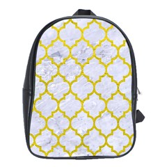 Tile1 White Marble & Yellow Leather (r) School Bag (xl) by trendistuff