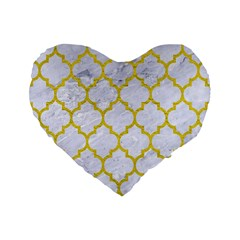 Tile1 White Marble & Yellow Leather (r) Standard 16  Premium Heart Shape Cushions by trendistuff