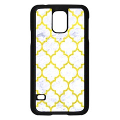 Tile1 White Marble & Yellow Leather (r) Samsung Galaxy S5 Case (black) by trendistuff