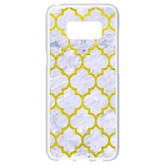 Tile1 White Marble & Yellow Leather (r) Samsung Galaxy S8 White Seamless Case
