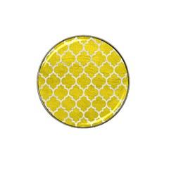 Tile1 White Marble & Yellow Leather Hat Clip Ball Marker by trendistuff