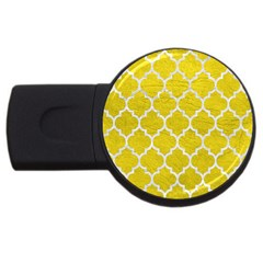 Tile1 White Marble & Yellow Leather Usb Flash Drive Round (4 Gb) by trendistuff