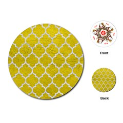 Tile1 White Marble & Yellow Leather Playing Cards (round)