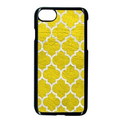 Tile1 White Marble & Yellow Leather Apple Iphone 8 Seamless Case (black) by trendistuff