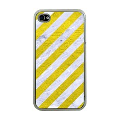 Stripes3 White Marble & Yellow Leather (r)stripes3 White Marble & Yellow Leather (r) Apple Iphone 4 Case (clear) by trendistuff