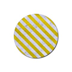 Stripes3 White Marble & Yellow Leather Rubber Coaster (round)  by trendistuff