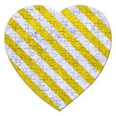 Stripes3 White Marble & Yellow Leather Jigsaw Puzzle (heart) by trendistuff