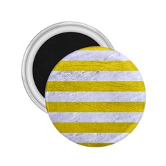 Stripes2white Marble & Yellow Leather 2 25  Magnets by trendistuff