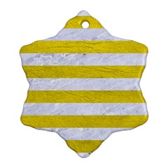 Stripes2white Marble & Yellow Leather Snowflake Ornament (two Sides) by trendistuff
