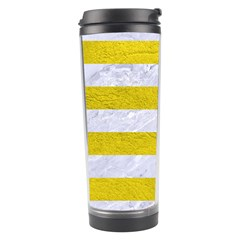 Stripes2white Marble & Yellow Leather Travel Tumbler