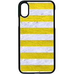 Stripes2white Marble & Yellow Leather Apple Iphone X Seamless Case (black)