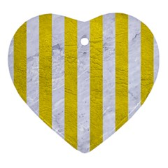 Stripes1 White Marble & Yellow Leather Ornament (heart) by trendistuff