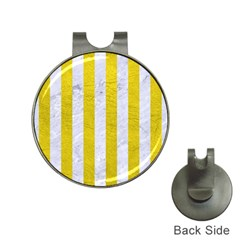 Stripes1 White Marble & Yellow Leather Hat Clips With Golf Markers
