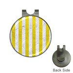 Stripes1 White Marble & Yellow Leather Hat Clips with Golf Markers Front
