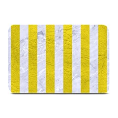 Stripes1 White Marble & Yellow Leather Plate Mats by trendistuff