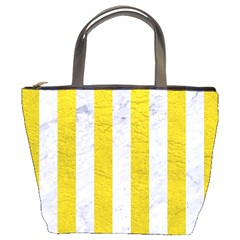 Stripes1 White Marble & Yellow Leather Bucket Bags by trendistuff