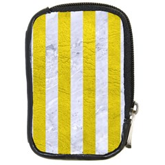 Stripes1 White Marble & Yellow Leather Compact Camera Cases by trendistuff