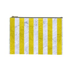 Stripes1 White Marble & Yellow Leather Cosmetic Bag (large)  by trendistuff