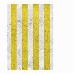 Stripes1 White Marble & Yellow Leather Small Garden Flag (two Sides) by trendistuff