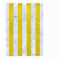 Stripes1 White Marble & Yellow Leather Large Garden Flag (two Sides) by trendistuff
