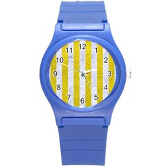 Stripes1 White Marble & Yellow Leather Round Plastic Sport Watch (s) by trendistuff