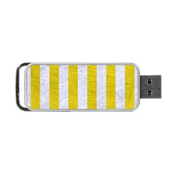 Stripes1 White Marble & Yellow Leather Portable Usb Flash (one Side) by trendistuff