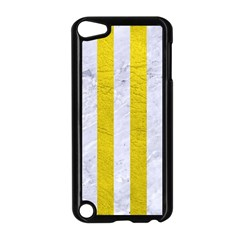 Stripes1 White Marble & Yellow Leather Apple Ipod Touch 5 Case (black) by trendistuff