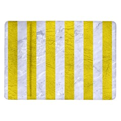 Stripes1 White Marble & Yellow Leather Samsung Galaxy Tab 10 1  P7500 Flip Case by trendistuff