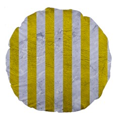 Stripes1 White Marble & Yellow Leather Large 18  Premium Flano Round Cushions by trendistuff