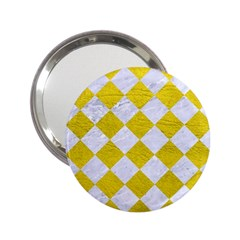 Square2 White Marble & Yellow Leather 2 25  Handbag Mirrors by trendistuff