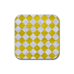 Square2 White Marble & Yellow Leather Rubber Coaster (square)  by trendistuff
