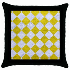 Square2 White Marble & Yellow Leather Throw Pillow Case (black) by trendistuff
