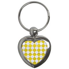 Square2 White Marble & Yellow Leather Key Chains (heart)  by trendistuff