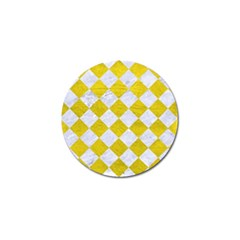 Square2 White Marble & Yellow Leather Golf Ball Marker (10 Pack) by trendistuff