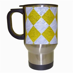 Square2 White Marble & Yellow Leather Travel Mugs (white) by trendistuff