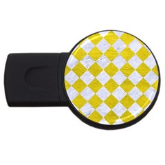 Square2 White Marble & Yellow Leather Usb Flash Drive Round (4 Gb) by trendistuff