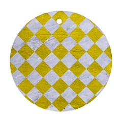 Square2 White Marble & Yellow Leather Round Ornament (two Sides) by trendistuff