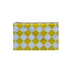 Square2 White Marble & Yellow Leather Cosmetic Bag (small)  by trendistuff