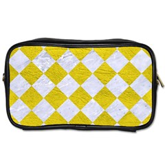 Square2 White Marble & Yellow Leather Toiletries Bags 2 Side by trendistuff