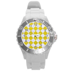 Square2 White Marble & Yellow Leather Round Plastic Sport Watch (l) by trendistuff