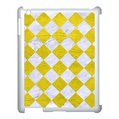 Square2 White Marble & Yellow Leather Apple Ipad 3/4 Case (white) by trendistuff