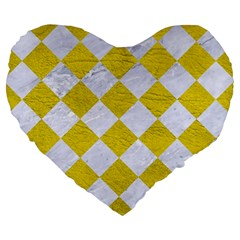 Square2 White Marble & Yellow Leather Large 19  Premium Heart Shape Cushions by trendistuff