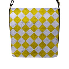 Square2 White Marble & Yellow Leather Flap Messenger Bag (l)  by trendistuff