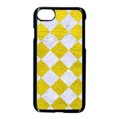 Square2 White Marble & Yellow Leather Apple Iphone 7 Seamless Case (black) by trendistuff