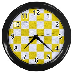 Square1 White Marble & Yellow Leather Wall Clocks (black) by trendistuff