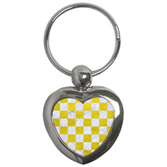 Square1 White Marble & Yellow Leather Key Chains (heart)  by trendistuff