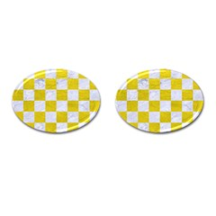 Square1 White Marble & Yellow Leather Cufflinks (oval) by trendistuff